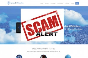picture of website with a scam alert banner