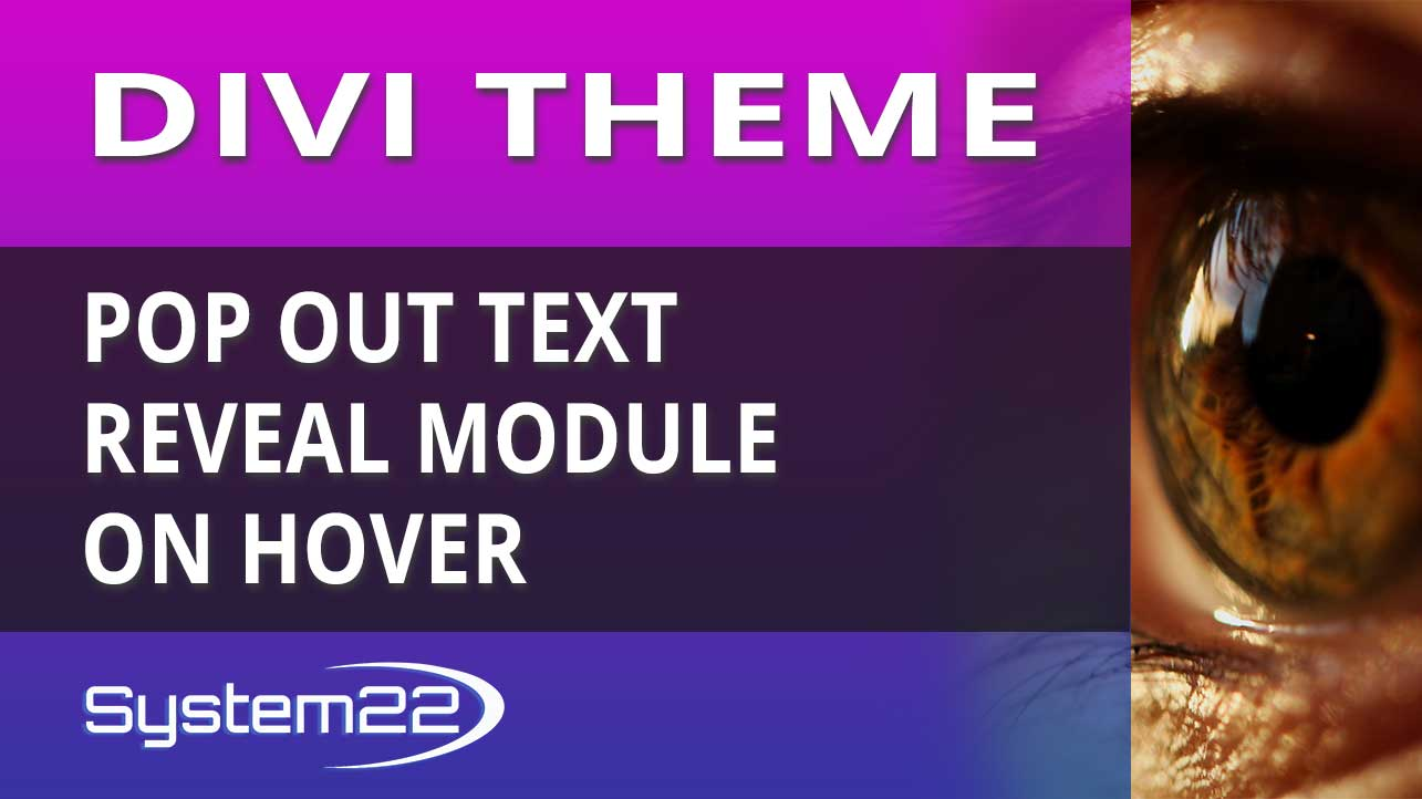 Divi Theme Pop Out Text Reveal Module On Hover