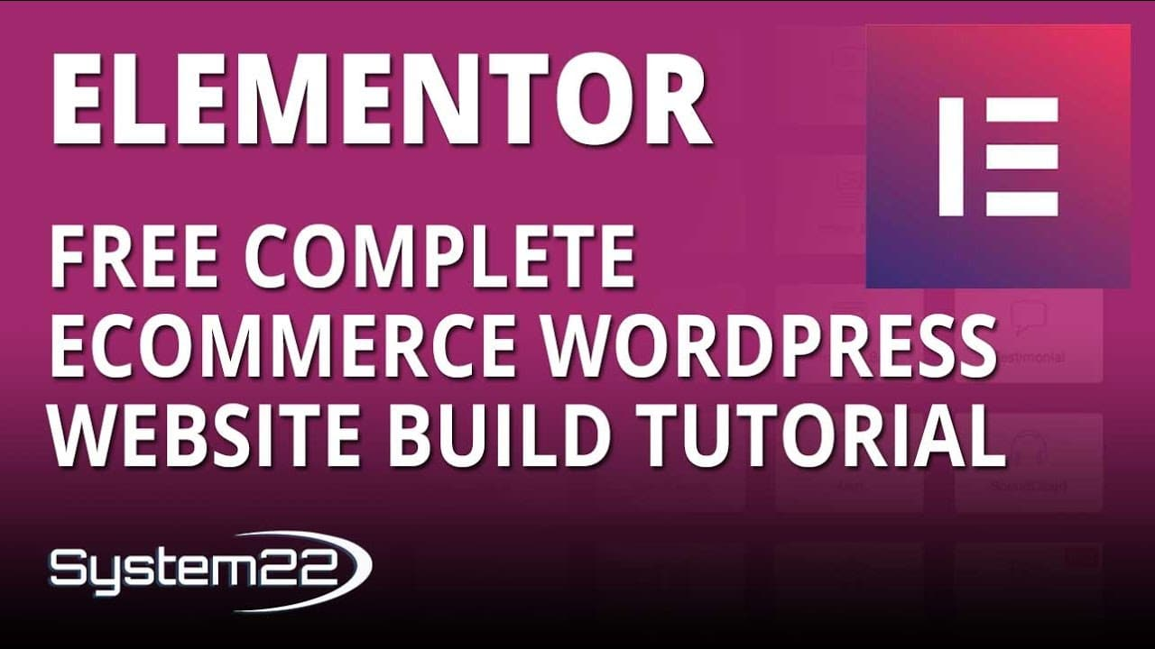 Elementor Free Complete Ecommerce WordPress Website Build Tutorial