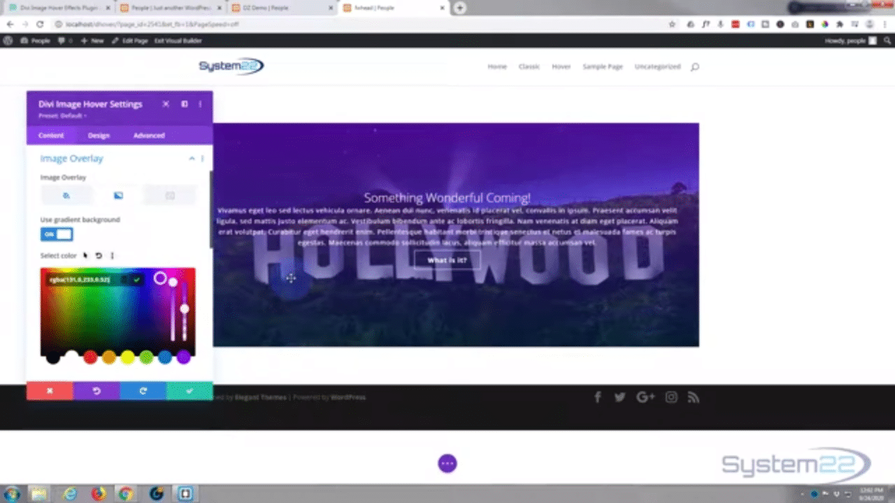 Divi Theme Hover Effects Full Width Image To Text On Hover