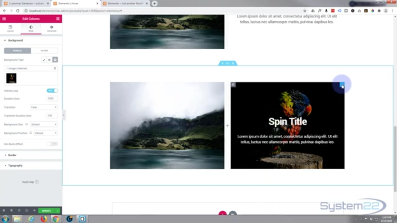 Elementor Hover Effects Text Spin To Image On Hover